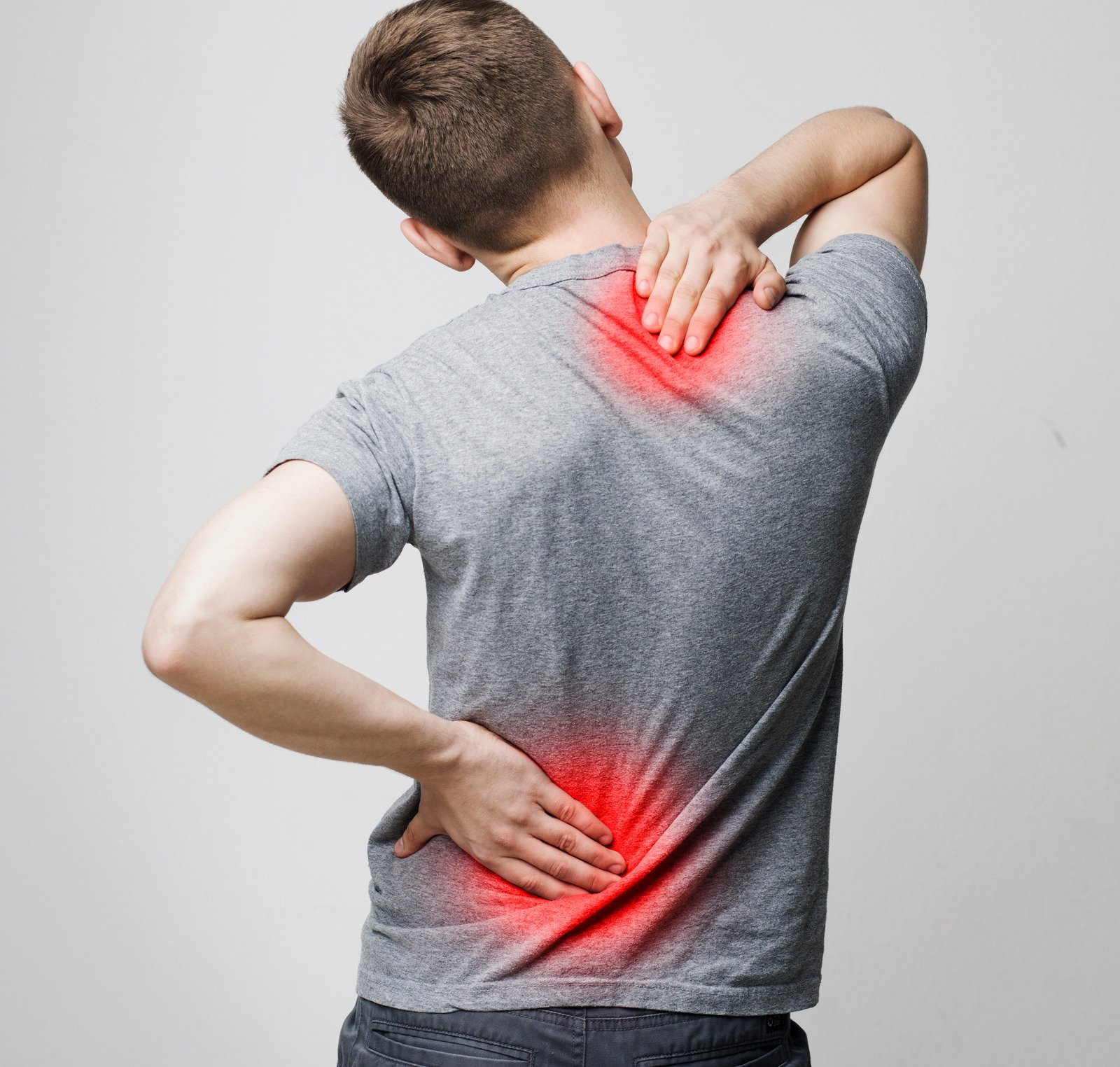 Spine osteoporosis. Scoliosis. Spinal cord problems on man's back.